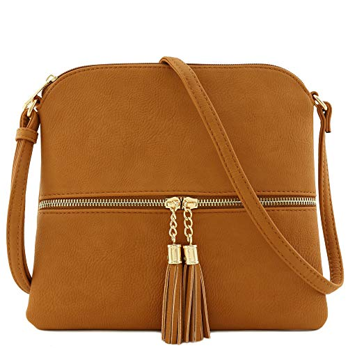 "10"" (W) x 9"" (H) x 0.5"" (D) Zipper closure & front zipper is a functional pocket Adjustable shoulder strap with 25.5"" drop Faux leather & gold tone hardware 1 zipper pocket & 1 slip pocket inside"