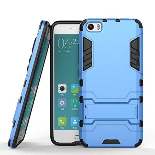 Funda para Xiaomi Mi 5 (5,15 Pulgadas) 2 en 1 Híbrida Rugged Armor Case Choque Absorción Protección Dual Layer Bumper Carcasa con Pata de Cabra (Azul)