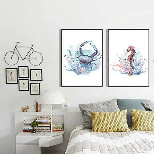 2 unidades lienzo arte de la pared cuadros de animales decoración de la habitación estética impresiones de arte cangrejo caballito de mar nórdico moderno tinta pintura sobre lienzo