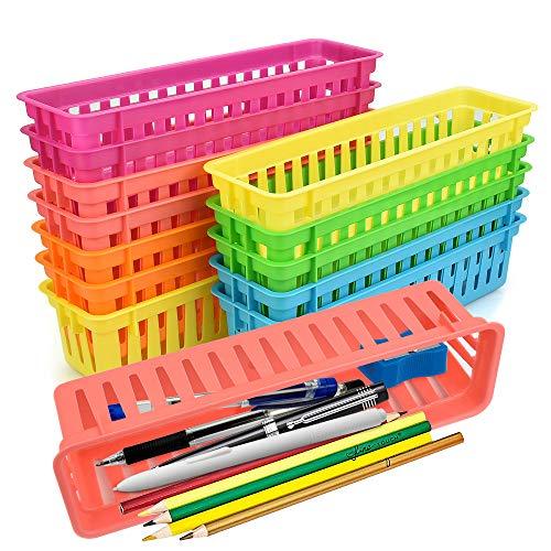 LYTIVAGEN 12 PCS Cestas de Plástico para Guardar Lápices Caja de Lápices Caja de Almacenamiento Cesta Larga de Plástico Minicesta Organizadora para Lápices, Artículos de Papelería (Multicolor)