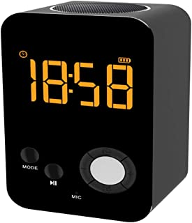 WLKJ Alarma Reloj Altavoz Cargador/Bluetooth/con Voz, Llamada de Mensaje de Voz, Reloj Alarma Personalizada, para los dormitorios, de Noche, Escritorio, Estante,Negro