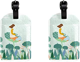 Girl On Lotus LeafLeather Luggage Tags Suitcase Labels Bag Travel ID Bag Tag, 1 Pcs