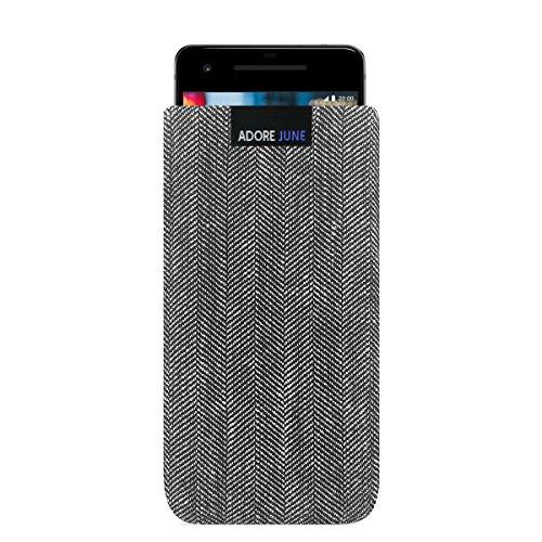Adore June Business Tasche für Google Pixel 2 Handytasche aus charakteristischem Fischgrat Stoff - Grau/Schwarz | Schutztasche Zubehör mit Bildschirm Reinigungs-Effekt | Made in Europe