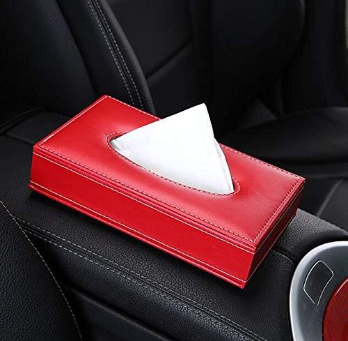 AXUHENGO Crystal Leather Car Tissue Box Holder Rhinestone Auto Apoyabrazos Caja Tipo de Bloque Toalla de Papel Fundas Organizadores de Coche Rojo