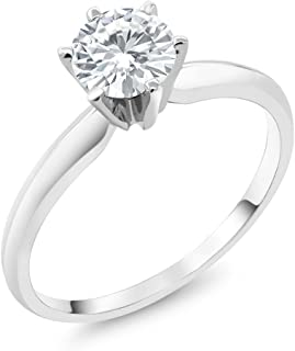 Charles & Colvard Forever Classic 6mm 0.80ct DEW Created Moissanite 14K White Gold Engagement Solitaire Ring (Available 5,6,7,8,9)