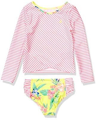 Nautica Girls Rashguard Swim Suit Set with UPF 50+ Sun Protection, Stripe Floral Neon Pink, M8/10