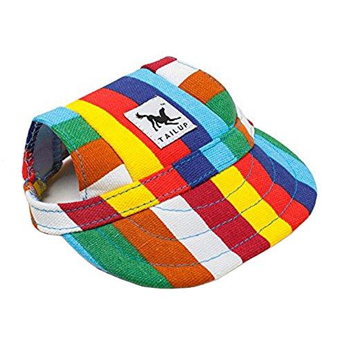 MansWill - Gorra pequeña de béisbol para mascotas, para actividades al aire libre, para perro, gato, ocio, protección contra el sol, sombrero, verano, cachorro, perro, casual, deporte, tejido Oxford, con agujeros para los oídos y cuerda de cuello ajustable