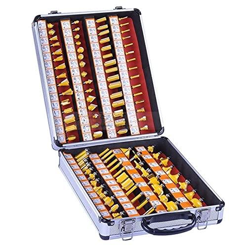 Juego de fresas de 100 piezas de 1/4'(6,35 mm), juego de fresas de carburo de tungsteno con mango profesional + caja de aluminio para suministros científicos de la industria de la madera