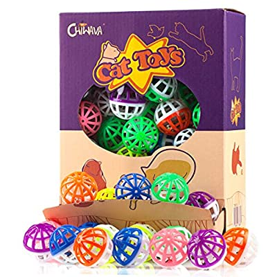CHIWAVA 48PCS 1.6'' Cat Toy Ball with Bell Plastic Lattice Jingle Balls Kitten Chase Pounce Rattle Toy Assorted Color from WONPET Co., Ltd