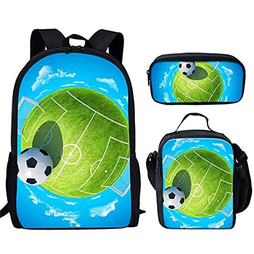 WEIYIQ Los Bolsos de Escuela de la Impresión del Fútbol del Deporte del Adolescente Fijaron,Bolso de Escuela Unisex de Los Niños del Poliéster de la Moda