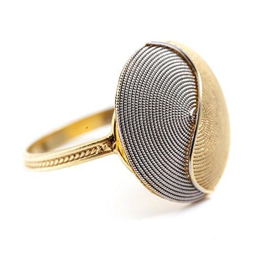 Anello Oro Giallo Corbula Bicolore