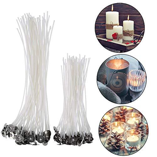 Chizea 100 Stück Flachdocht Kerzendocht für Kerzenherstellung, Kerze DIY Vorgewachste Dochte 2 Größe (90 mm und 150 mm)