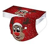 GJKK 10Stück Einmal-Mundschutz Weihnachten Erwachsene Mundschutz mit Weihnachten Wichtel Motiv Mund Nasenschutz 3 Lagig Atmungsaktiv Weihnachten Schneeflocke Bandana Halstuch