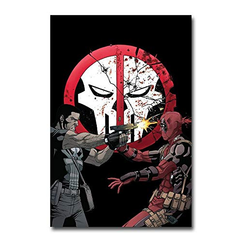 yangchunsanyue Affiche Deadpool vs The Punisher Comics Affiche Murale Art décor Autocollant 40x50cm No Frame U-421