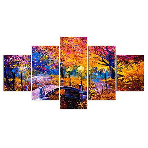 ZXYJJBCL Pintura Al Óleo Bosque De Otoño Y Puente Pequeño Impresiones En Lienzo Obra De Arte 5 Paneles Imágenes Abstractas para Foto Impresa En Lienzo Arte De Pared para Decoración De Oficina