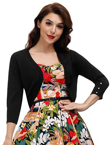 Womens 3/4 Sleeve Cropped Bolero Cardigan (Black,M)