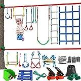 1UTech Carrera de obstáculos Ninja Warrior para niños Equipo de Entrenamiento Ninja Warrior, línea de obstáculos para Colgar árboles al Aire Libre, Accesorios, Juego para niños