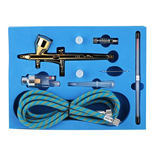 Kit Compressore Aerografo, Pistola Aerografo con Alimentazione a Gravità a Doppia Azione Kit Aerografo Mini, Ugello 0,2 0,3 0,5 Mm, Uso per Belle Arti, Nail Art, Tatuaggio Temporaneo, Decorazione di T