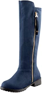 KemeKiss Women Round Toe Long Boots Low Heel
