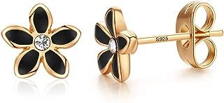 Stud Earrings 18K Gold Plated Black Rose Flower Stud Earrings for Women and Girls Gift Black petal earrings