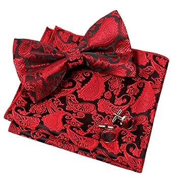 Men s Paisley Bow Tie& Hanky& Cufflinks Set  Wine Red