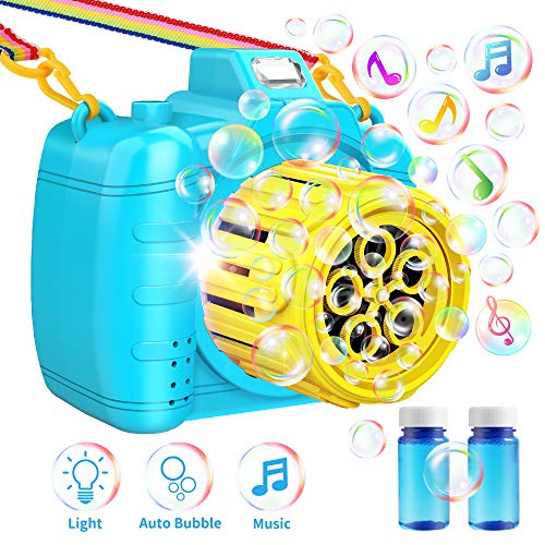 TECBOSS Bubble Machine, Camera Bubble Blower with Music LED Flashing Light, Best Summer Outdoor Toys for Kids/Toddlers, Blue