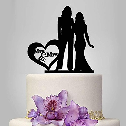 Lesbian Cake Topper, Black Color Acrylic Silhouette Couple Bride and Bride Wedding Party Decorations, Wedding Gift for Ladies