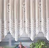 heimtexland Gardine Store Bogenstore Jacquard Blumenmuster weiß mit Kräuselband/Universalschienenband HxB 145x300 cm für Fensterbreite 100-130 cm TOP QUALITÄT …auspacken, aufhängen, fertig! Typ127