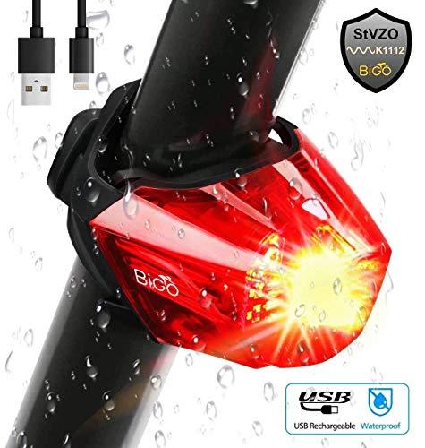 Omasi Fahrrad Rücklicht, BIGO StVZO Zugelassen Fahrradrücklicht Hohe Qualität Ultra Hell Fahrrad Licht, Fahrradlampe Aufladbar,Fahrradbeleuchtung LED USB Wiederaufladbare Wasserdicht