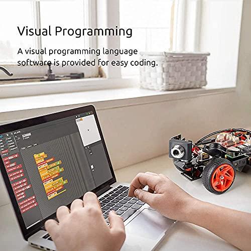 SunFounder Smart Video Car Kit V2.0 PiCar-V Robot Kit Raspberry Pi 4 Model B 3B+ 3B 2B Graphical Visual Programming Language,Video Transmission,Remote Control by UI on Windows Mac Web Browser