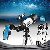 Telescopio Astronómico TTLIFE 70 mm/400 mm Profesional Refractor Telescopio con Trípode Ajustable/Visor/Soporte Teléfono Móvil/Mochila Telescopio Astronómico para Niños, Principiantes, Adultos