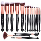 BS-MALL Makeup Brushes Premium Synthetic Foundation Powder Concealers Eye Shadows Makeup 16 Pcs Brush Set, Rose Golden, 1 Count