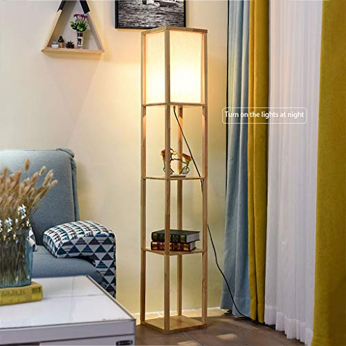 """Floor Lamp with LED Shelves - Shelf Floor Lamp - 3 Shelf Lamp Standing Floor Lamp with Open Shelves 63"""" Tall Wood with White Linen Shade - Lamps for Living Room Bedrooms (wood)"""