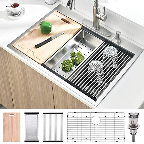 33 Inch Topmount Drop In Workstation Stainless Steel Kitchen Sink -...