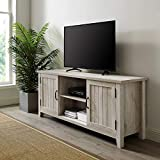 Walker Edison Furniture Company Modern Farmhouse Grooved Wood Stand with Cabinet Doors for TV's up to 65' Living Room Storage Shelves Entertainment Center, 58 Inch, White Oak