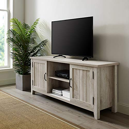 Walker Edison Buren Classic Grooved Door TV Stand for TVs up to 65 Inches, 58 Inch, White Oak