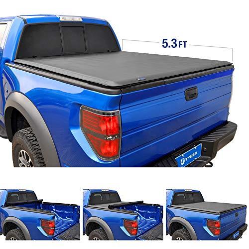 Tyger Auto T1 Soft Roll Up Truck Bed Tonneau Cover for 2005-2011 Dodge Dakota; 2006-2008 Mitsubishi Raider  Fleetside 5.3' Bed  TG-BC1D9016