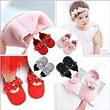EDOTON 2 Pcs Kleinkind Schuhe+ Stirnband, Baby Mädchen Blumen Schuh Anti-Rutsch-Weiche Besondere Anlässe Taufe Hochzeit Party Schuhe (Weiß, Numeric_17) - 7