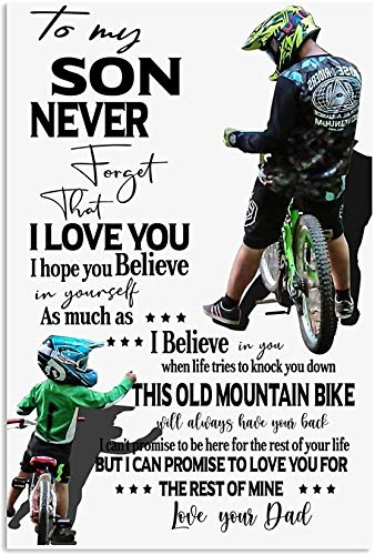 Mountain Bike Canvas - to My Son - Never Forget I Love You Canvas Art Canvas 0.75 Inch Print Size 8x12, 12x18, 16x24, 24x36 Inches