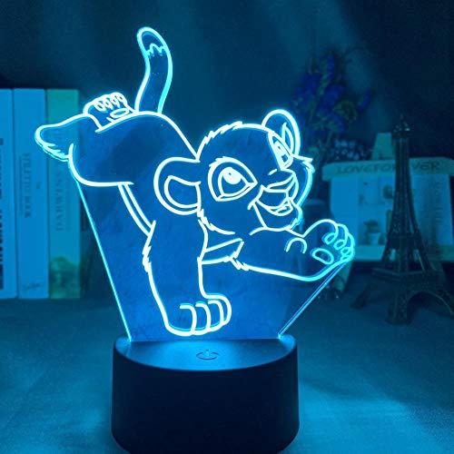 Lampe illusion Led Illusion d'optique 3D Simba Lion King adapté pour chambre enfants anniversaire cadeau de Saint Valentin - noir Base_Simba n'a pas de barbe
