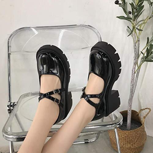 DQS Zapatos Lolita Zapatos Mujer Estilo japonés Mary Jane Zapatos Mujeres Vintage niñas Zapatos de Plataforma de tacón Alto Estudiante Universitario Grande