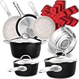 Dealz Frenzy Stone Ultra Non-Stick Pots and Pans Set,16-Piece Marble Coating Induction Cookware Sets,Stainless Steel Handle,Durable,Scratch Resistance,Dishwasher Safe,Matte Black,Mother's Day Gift