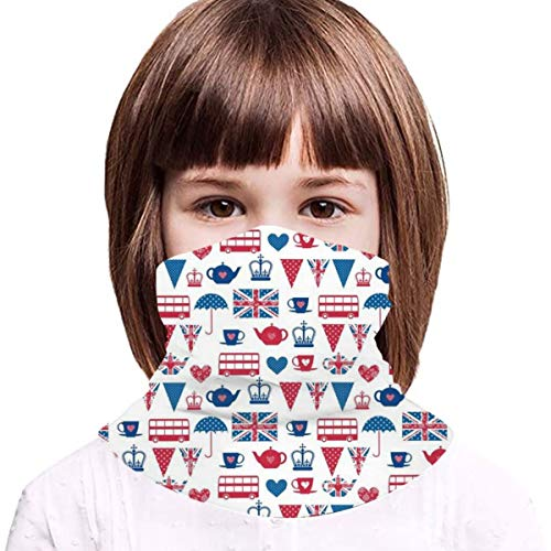 Kids British Flag-Britain English England UV Protection Face Cover Neck Gaiter for Hot Summer Cycling Hiking Sport Outdoor