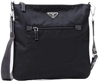 Prada Tessuto Nylon Messenger/Crossbody 1BH716 Black Messenger Bag
