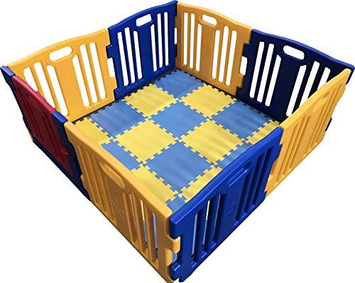 Parque de Bebe XL 8 Piezas Star Ibaby Play Twin Incluye alfombra puzzle 16 piezas Multiples Formas de Montaje