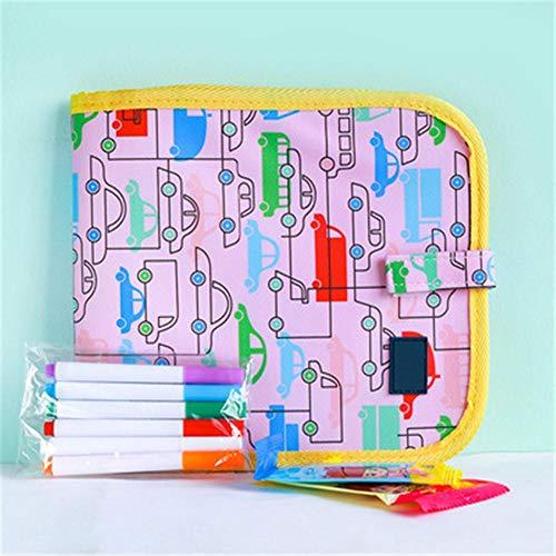 Clevoers - Tablero de Dibujo para niños, libreta para Pintar con 6 lápices de Colores para niños, Tabla de Dibujo, Lavable, Reutilizable, portátil, 8 páginas
