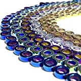 [ABCgems] Premier-Hematite-Collection (6 Metallic Colors Wholesale Lot) 9mm Precision-Cut Donut Beads (Spacer Beads for Stone, Pearl, Shell & Crystal)