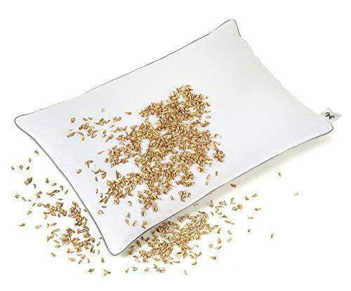 NATURECA Almohada de espelta 40 x 60 cm, Almohada Cervical con Funda Transpirable de algodón, Almohada Natural de cáscara de espelta orgánica, Almohada ortopedica Bio espelta