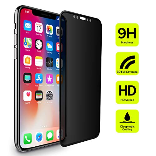 BENKS Protector Pantalla iPhone XS X Privacidad, Anti Espía Cristal Templado Cobertura Completa Dureza 9H Vidrio Templado para Apple iPhone XS X 10, 5,8 Pulgada [Anti-Burbujas][ Fácil Instalación]