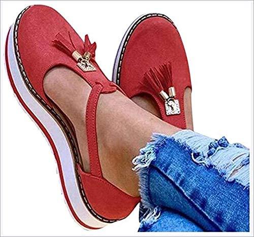 OshoeQ Sandali Donna Estivi Piattaforma Tacco Eleganti Comode Moda Estate Chiuse Davanti Nappa Piatto Platform Sandalo Romani Scarpe,Rosso,38